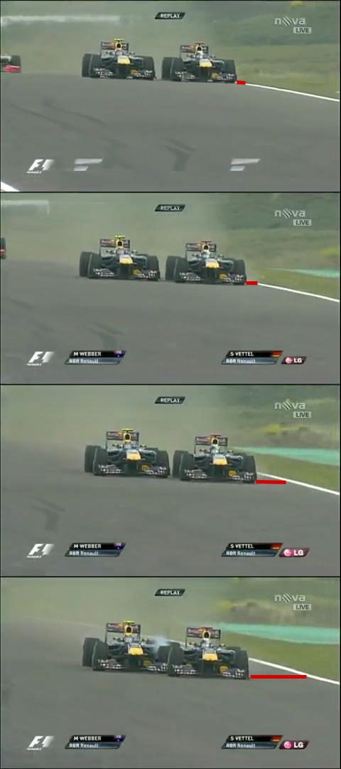 Vettel squeezes Webber