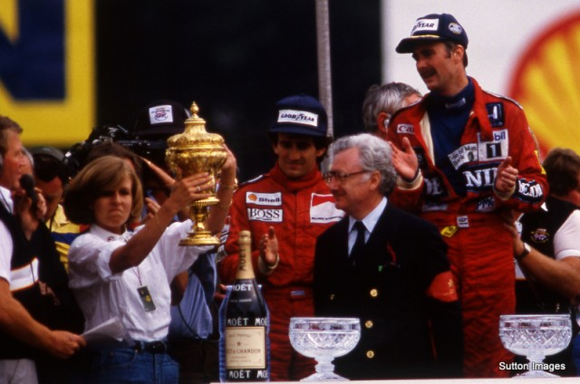 Ginny Williams on the podium at the British GP 1986 © Sutton Motorsport Images