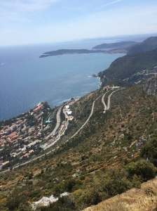 The old hillclimb at La Turbie with Cap Ferrat in the distance.