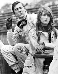 Brian Bedford (aka Scott Stoddard) with the gorgeous Françoise Hardy, during the filming of Grand Prix
